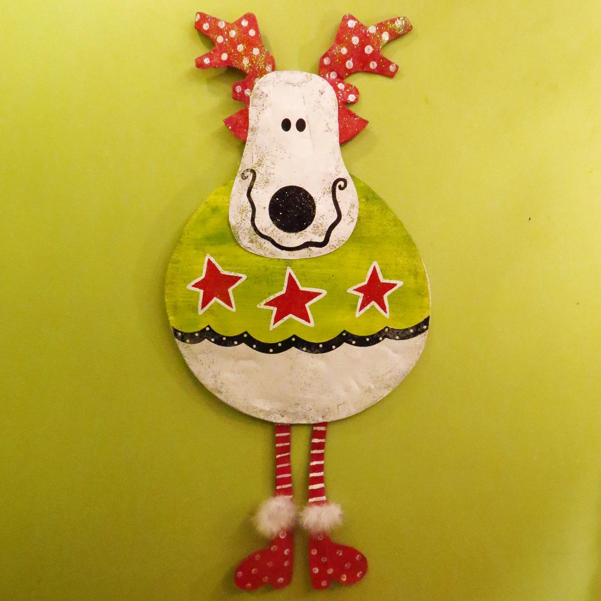 Roly Poly Reindeer Door Hanger