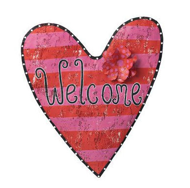 striped welcome heart