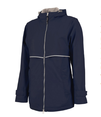 true navy rain jacket
