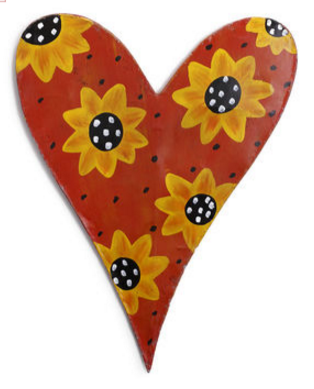 heart with funflowers
