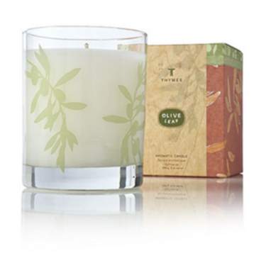 olive leaf poured candle