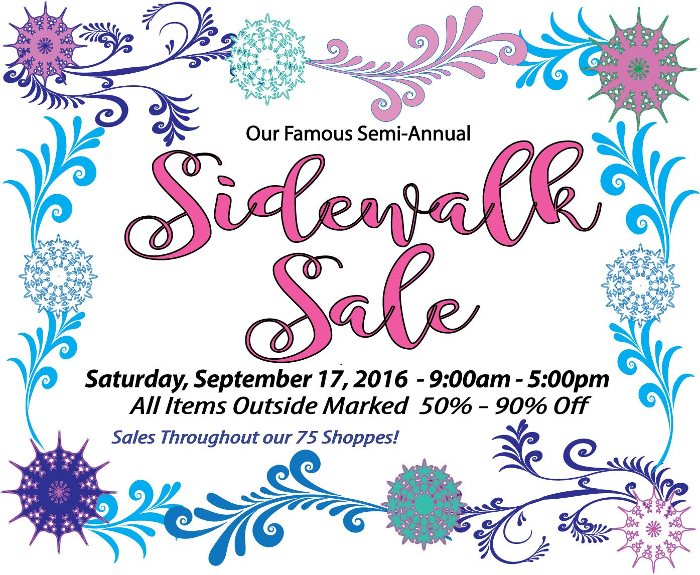 Sidewalk Sale September 2016 flyer