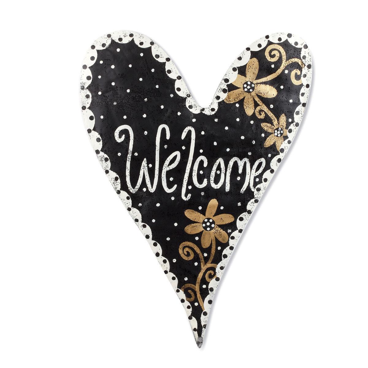 Black And Gold Welcome Heart Door Hanger Artisans