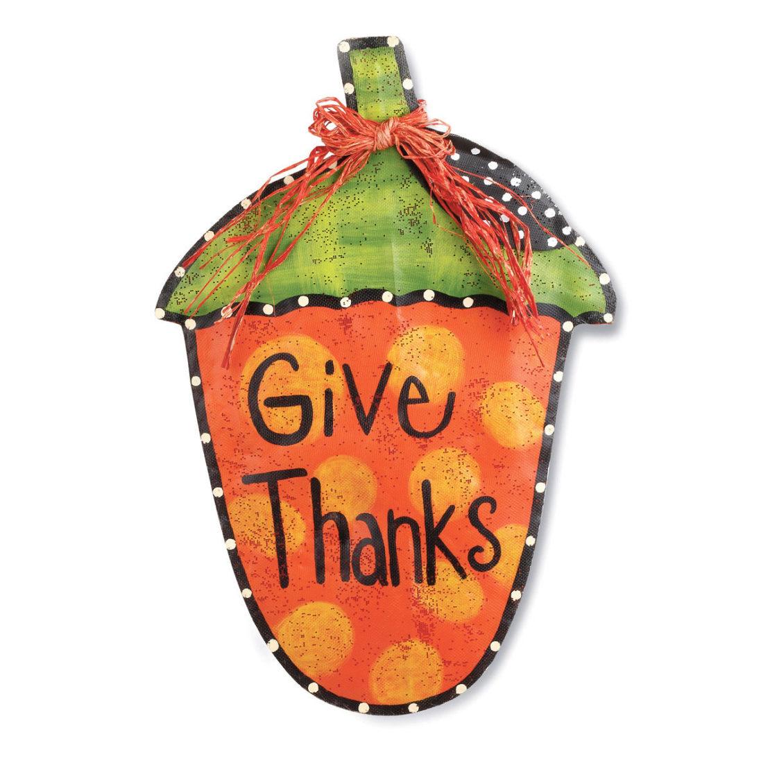 Give Thanks Acorn Screen Door Hanger