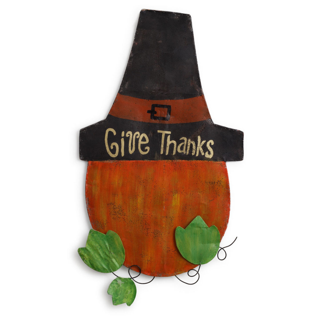 Pumpkin with Pilgrim Hat Door Hanger