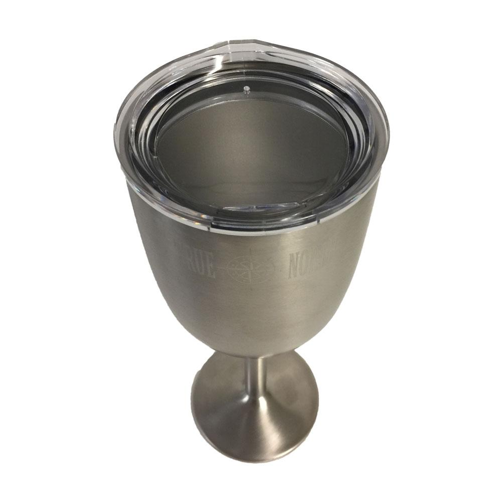 True north insulated stainless wine glass with lid for Insulate glass